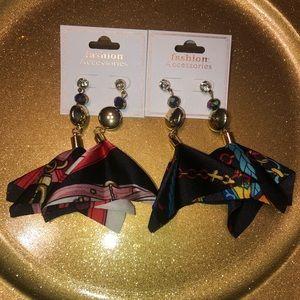 Fabric & Multi-colored Rhinestone earrings